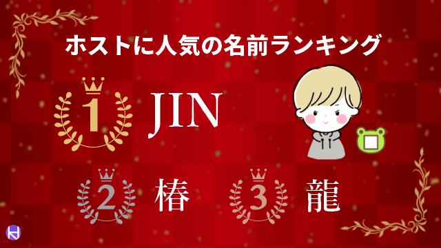 ホストに人気の名前ランキングの画像(1位JIN・2位椿・3位龍)